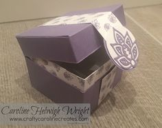 CraftyCarolineCreates: Hinged Flush Fitting Lid Gift Box, Video Tutorial using Paisleys and Poseys by Stampin' Up