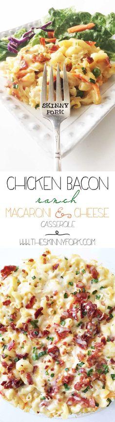 Chicken Bacon Ranch Macaroni & Cheese Casserole - Yummy! #Ad #MealtimeSolutions @Horizon_Organic @HorizonOrganic TheSkinnyFork.com   Skinny & Healthy Recipes