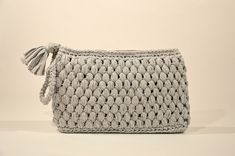 Crochet Large Cotton Wristlet Clutch With Handmade Handle And Zipper, Handmade Summer Clutch, Cosmetic Beach Bag, Gift For Her, Gift For Mum Crochet Tote, Crochet Handbags, Knit Or Crochet, Market Bag, Gifts For Mum, Cotton Bag, Minimalist Fashion, Bag Making, Handmade