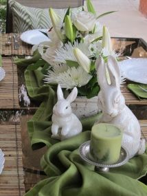 Green and white...ceramic bunnies.