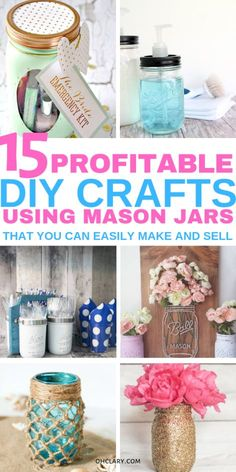 15 DIY Mason Jar Crafts To Sell For Extra Money. Creative and unique easy DIY crafts you can make using dollar stores items and sell for a nice profit at craft fairs, flea markets or on Etsy. Making easy mason jar craft ideas is a great way to make some e Diy Craft Projects, Diy And Crafts Sewing, Easy Diy Crafts, Creative Crafts, Kids Crafts, Decor Crafts, Diy Crafts With Kids, Diy Creative Ideas, Make To Sell