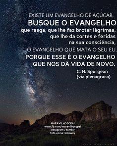 """""""Existe um evangelho de açúcar.  Busque o evangelho que rasga, que lhe faz brotar lágrimas, que lhe dá cortes e feridas na sua consciência, o evangelho que mata seu eu, porque esse é o evangelho que nos dá vida de novo."""" - C. H. Spurgeon  Nosso Instagram, nos segue lá https://www.instagram.com/maravilhosopai/   #maravilhosopai #fé #faith #chspurgeon"""