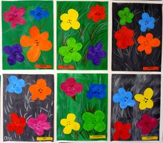 Journal Chrys Andy Warhol in kindergarten Andy Warhol Flowers, Andy Warhol Pop Art, Spring Art Projects, School Art Projects, Spring Crafts, Art Floral, Pop Art Pour Les Enfants, Flower Crafts, Ideas