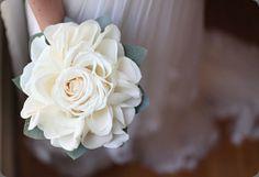 Striking off-white composite bouquet  - White Rosette Bouquet by cori cook  #compositebouquet #glamelia #rosamelia