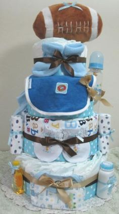 diaper cake...cute idea for baby showers.