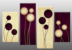 ... Abstract Canvas Picture Circles Wall Art Split Multi panel 40"