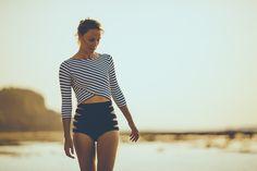 Salt Gypsy rashguard black & white stripes
