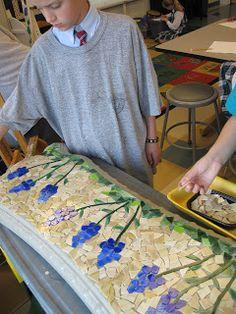 Mosaic Concrete Bench for Auction | Art class ideas