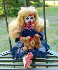Porcelain Zombie Doll Vintage Repaint Creepy Gruesome With Teddy Bear In Time For Halloween