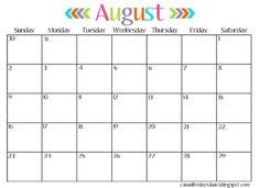 Back by popular demand a free calendar that starts August 2015 and goes through 2016. This style was my most requested style so I hope you love it too! If you are looking for something specific please let me know and I can customize it for you. I would be glad to help!