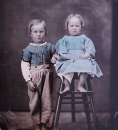 ~ BEAUTIFUL Antique BAREFOOT Boy & Girl Hand Tinted TINTYPE Photo FRAMED in Case | eBay