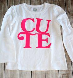 Toddler Girls Tee with Cute Vinyl Transfer by LittleBunnySueSue, $20.00