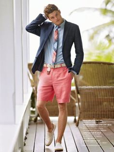 Shop this look on Lookastic:  https://lookastic.com/men/looks/blazer-dress-shirt-shorts-espadrilles-tie-belt/11602  — Light Blue Plaid Tie  — Light Blue Vertical Striped Dress Shirt  — Navy Blazer  — Beige Canvas Belt  — Pink Shorts  — Beige Canvas Espadrilles