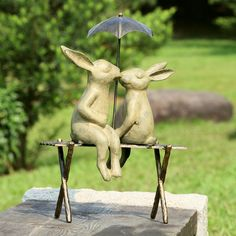 Bunny Lovers on Bench Statue, Oh I need this!!
