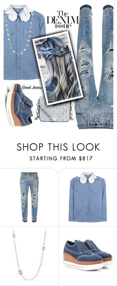 """""""denim and pearls"""" by nineseventyseven ❤ liked on Polyvore featuring Dolce&Gabbana, Miu Miu, Chanel and Alexander Wang"""