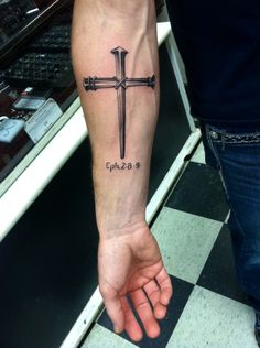 Recent tattoo 2015. Jesus cross nails tattoo Eph. 2:8-9