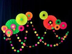 neon glow birthday party dessert table decoration idea