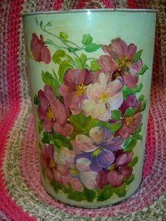 Vintage Floral Trash Can Waste Basket Garden Blooms Tinware by BlackRain4