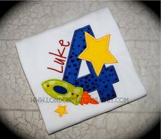 Boys Space Astronaut Personalized Birthday Tee T Shirt Rocket Ship $24