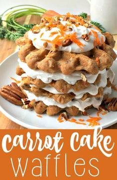 The classic carrot cake recipe has been turned into breakfast and made HEALTHY! These delicious carrot cake waffles are gluten-free, vegan, and absolutely scrumptious. No refined sugar, just a little maple syrup for sweetness. (Carrot Cake Waffles) #BRMEaster