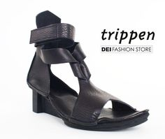 leather sandals with strap details and twist fastening. The perfect shoe to complete your grunge-glam outfits! http://www.deifashionstore.com/women/trippen-snadal.html