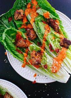 This vegetarian Caesar salad features a bold sun-dried tomato dressing. It's a beautiful spin on traditional Caesar salad. Perfect for date night at home!