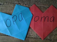 Harten of hartjes vouwen voor de grootouders, voor opa en oma.
