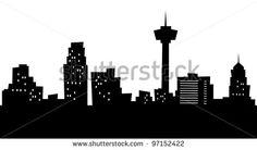 Cartoon skyline silhouette of the city of San Antonio, Texas, USA