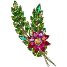 MINT Vtg CROWN TRIFARI Green Navettes Leaf Fuchsia Flower  Brooch Pin Book Piece