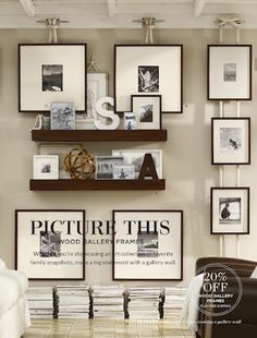 Cool idea from Pottery Barn, using cleats as picture rail hooks and hanging art