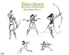 Lotr Elf Archer Action poses 1 by halrod.deviantart.com on @DeviantArt