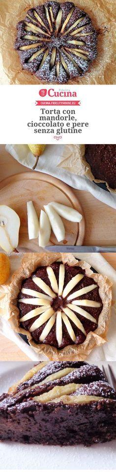 Torta con mandorle, cioccolato e pere senza glutine Fruit Recipes, Sweet Recipes, Cake Recipes, Cooking Recipes, Autumn Winter Recipes, Winter Food, Lactose Free, Vegan Gluten Free, Gluten Free Desserts
