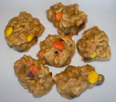 Reese's Drop Cookies:  1 cup white sugar  1 1/2 cups peanut butter  1 cup clear corn syrup  4 tbsp butter  1/2 tsp salt  1 tsp vanilla extract  4 cups Special K original cereal  1 cup Reese's Pieces