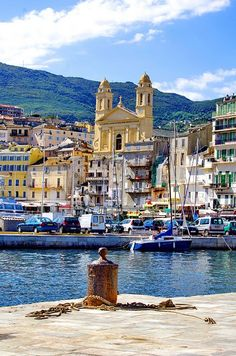 Bastia, Corsica, France  Harbor, docks, international, travel, waterway, town, mountain