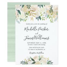 Pale Watercolor Floral Wedding II Card - watercolor gifts style unique ideas diy