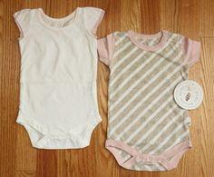 Burt's Bees Baby Girl Bodysuit 2 Piece Set ~ White, Pink & Beige ~ #BurtsBees #Bodysuits #OrganicCotton