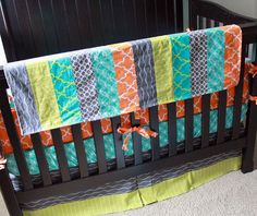 Crib bedding  Orange Green Grey and Aqua nursery by GiggleSixBaby, $403.00