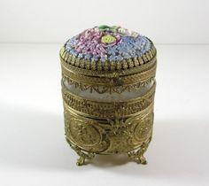 Porcelain Flower Dome Ormolu Jewelry Casket / by UBlinkItsGone