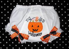 My First Halloween Bloomers embroidered in fun fonts.