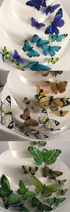 Life-like butterflies in various sizes for wedding cake decorations, table centerpieces, arbors, and backdrops look real and even feel real to the touch. Each butterfly is made from hand painted feathers with striking hues and contrasting colors right down to the smallest detail including sparkling crystal accents the create an iridescent sheen. These butterfly decorations can be ordered at http://myweddingreceptionideas.com/beautiful-hand-painted-butterfly-cake-decorations.asp