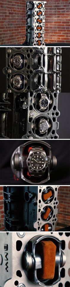What do you do with a spare BMW M52 straight-six engine? Restore it to go back into the car? Or to make it probably the most beautiful display for your collection of automatic watches? the VI52 Watch Winder allows you to mount your automatic watches on pistons in sheer style and have them docked inside the piston chambers on the engine. The pistons dock and un-dock at the press of a button.