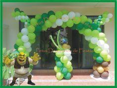 Arco de Globos modelo Shrek.