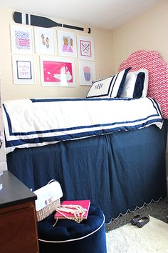 History in High Heels Gallery Wall Pink and Navy Preppy Dorm Room | www.prepavenue.com