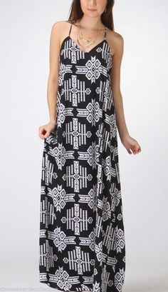 Black Boho To-The-Floor Maxi Dress Sun/Summer