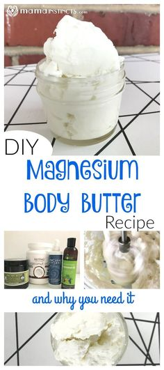 Most people have deficient magnesium levels. Try this easy magnesium body butter recipe to improve your overall health, especially if you suffer from migraines, are pregnant, have a hard time sleeping and have muscle pain. All these are signs in your body Bath Body Works, Young Living, Magnesium Cream, Magnesium Bath Salts, Magnesium Drink, Magnesium Flakes, Diy Body Butter, Shea Butter, Butter Oil