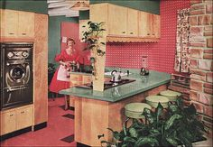cute mid century kitchen with formica, scallops, wallpaper, and green plant boxes