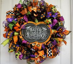 Your place to buy and sell all things handmade Halloween Door Wreaths, Halloween Deco Mesh, Halloween Magic, Halloween Door Decorations, Holiday Wreaths, Halloween Crafts, Holiday Crafts, Halloween Humor, Holiday Decor