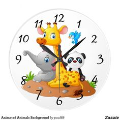 Animated Animals Background Large Clock