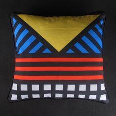 Camille Walala Tribalala Cushion 2 Square Blue Yellow Red Darkroom via Nuji.com