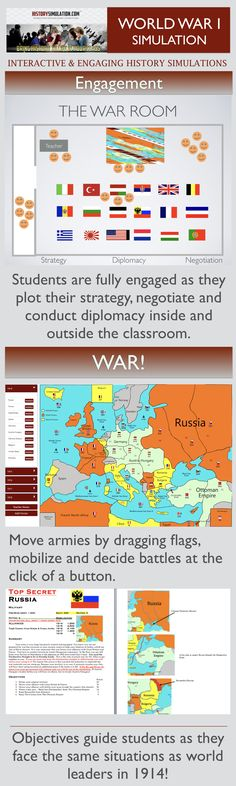 Students will take the roles of European Leaders on the eve of the Great War.   Most importantly, students will be engaged in: Forming Alliances, Conducting Diplomacy, Negotiating Deals, Developing Strategic Thinking skills, Problem Solving skills and Critical Thinking skills. Students Will Understand: -Background of the countries involved in the war. -The role alliances played  -How Mobilization escalated tensions -The affects of fighting a two front war. -The advantage of the Allies Navy